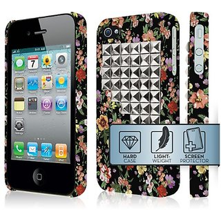 Empire Signature Series Slim-Fit Case for Apple iPhone 4/4S - Retail Packaging - Vintage Floral Stud