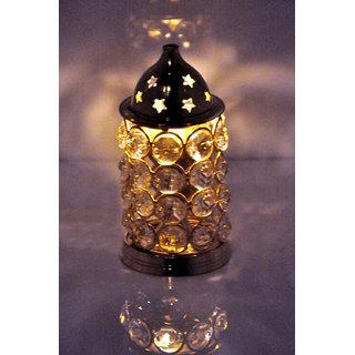 Rastogi Handicrafts Brass Akhand Diya Diamond Crystal Deepak Dia Akhand Jyot , Magical Lantern Brass Diya Brass oil Lamp