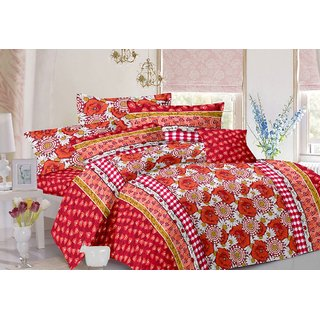 Valtellina Floral Design Red Colour Cotton Double Bed Sheet with 2 Pillow Cover - TC-140