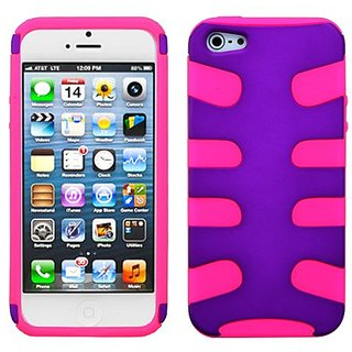 MyBat IPHONE5HPCSK414NP Rubberized Fishbone Protective Case for iPhone 5 / iPhone 5S - 1 Pack - Retail Packaging - Grape