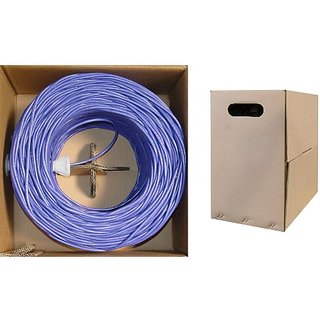C&E 1000 feet CAT 5E 24AWG 4PR Solid UTP Ethernet Cable Purple