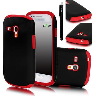 E LV 2 in 1 Hard Soft High Impact Hybrid Armor Defender Case Combo for Samsung Galaxy S3 MINI i8190 with 1 Black Stylus