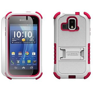 Beyond Cell Tri-Shield Durable Hybrid Hard Shell and Silicone Case for Kyocera Hydro XTRM C6721 - White/Hot Pink - Retai