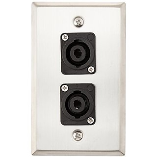 Seismic Audio SA-PLATE10 Stainless Steel Wall Plate with Dual 4 Pole Speakon Connectors