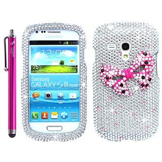 The Friendly Swede 3D Diamond Rhinestone Bling Case for Samsung Galaxy S3 III Mini i8190 + Stylus + Screen Protector + T
