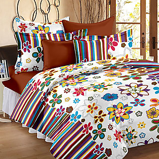 Bedspun 100% Cotton White Floral 1 Double Bedsheet With 2 Pillow Covers