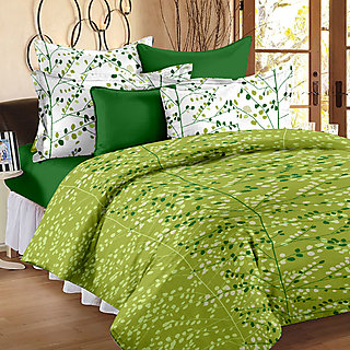 Bedspun 100% Cotton Green Floral 1 Double Bedsheet With 2 Pillow Covers