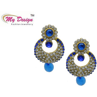 Buy My Design Stylish Blue Gold Plated Wedding Earrings For Women