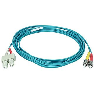 Monoprice 106407 3-Meters ST/SC Multi Mode Duplex 10GB Fiber Optic Cable - Aqua