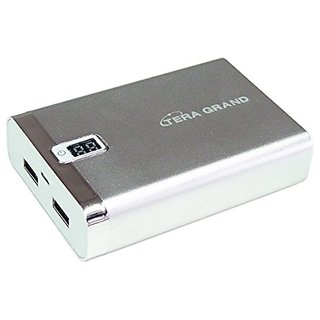 Tera Grand 7800mAh Dual USB Power Bank with LED Digital Display - Retail Packaging - Silver