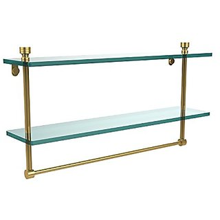 Allied Brass FT-2/22TB-PB 22-Inch Double Glass Shelf with Towel Bar