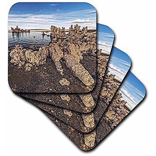 3dRose cst_186797_2 Mono Lake and Unusual Tufa Formations Soft Coasters, Set of 8