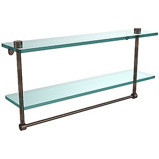 Allied Brass NS-2/22TB-VB 22-Inch Double Glass Shelf with Towel Bar