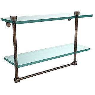 Allied Brass NS-2/16TB-VB 16-Inch Double Glass Shelf with Towel Bar