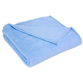 Elite Home All Seasons Plush Micro-Fleece Blanket, King, Light Blue