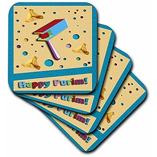 3dRose Happy Purim, Gragger and Hamantaschen-Soft Coasters, Set of 8 (cst_43483_2)