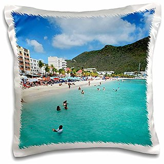 3dRose Great Bay Beach, Philipsburg, St. Maarten-CA41 Lse0001-Lynn Seldon-Pillow Case, 16 by 16