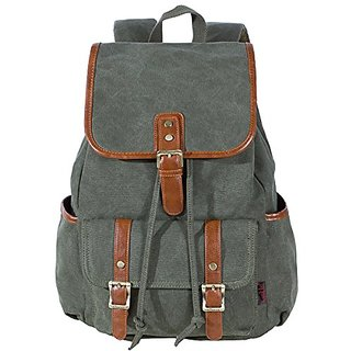 KaLeido Unisex Large Capacity Canvas Backpack Schoolbag Travel Bag (Navy Green)