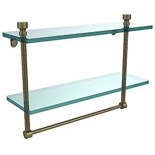 Allied Brass FT-2/16TB-ABR 16-Inch Double Glass Shelf with Towel Bar