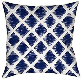 Thumbprintz Square Indoor/Outdoor Pillow, 18-Inch, Diamonds, Navy