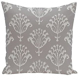 E By Design CPG-N16A-Classic_Gray-18 Floral Motifs Decorative Pillow, 18-Inch, Classic Gray
