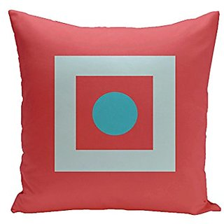 E By Design PG-N46-Coral_Turquoise-16 Geometric Decorative Pillow, 16-Inch, Coral Turquoise