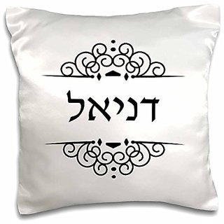 3dRose Daniel or Danielle Name in Hebrew Writing Personalized black and White-Pillow Case, 16 by 16