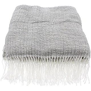 Oake Unisex Knit Ripple Throw Gray