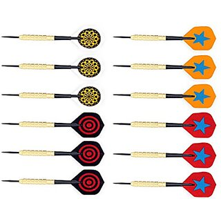 L.e.d Step 12 Pcs/4 Set Copper Barrel Darts Steel Needle with Flights (4 Styles) with PVC Dart Rods