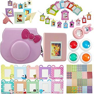 Fujifilm Instax Mini Hello Kitty Instant Camera Accessory Bundles Set (Camera Case/ Book Album/ Close-Up Selfie Lens/ Fi
