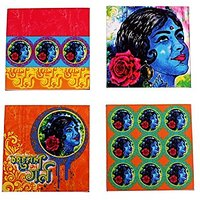 Fathers Day Gifts Set Of 4 Acrylic Square Coasters For Drinks Tea Coffee Beer Wine Glass And Holder With Bollywood Dream