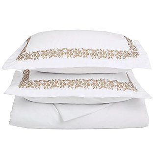 MARRIKAS Brushed Microfiber QUEEN WHITE WITH GOLD FLORAL EMBROIDERY Duvet Cover Set