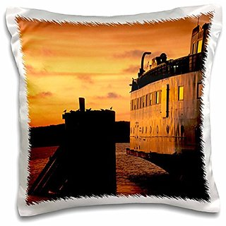 3dRose pc_90952_1 Massachusetts, Marthas Vineyard Ferry at Dusk-Us22 Wbi0097-Walter Bibikow-Pillow Case, 16 by 16