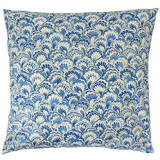 The Pillow Collection P18-WAV-750471-BLUEBELL-C100 Zaltana Damask Pillow, Bluebell