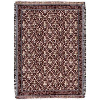 Red Traditional Fleur De Lis Pattern Tapestry Throw Blanket 50