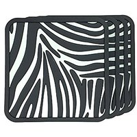 Best Coasters, Coaster Set, Zebra Print (Black And White) Drinking Coasters For Bar, Set Of 4, Good Grip, Grooved, Non-s