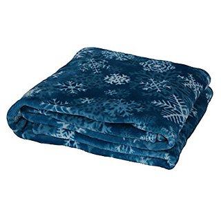 Longrich Blue Snowflakes Printed Flannel Throw Blanket, 70