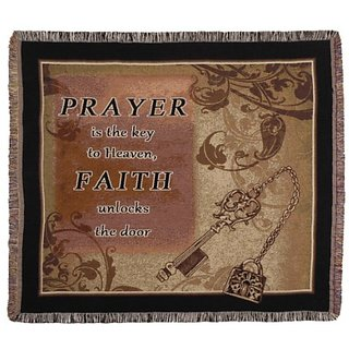 Prayer is Key Tapestry Toss Blanket Throw USA Made