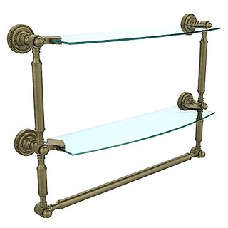 Allied Brass DT-34TB/18-ABR 18-Inch by 5-Inch Double Shelf with Towel Bar, Antique Brass