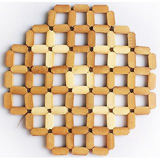 JustNile 4-Piece Coaster Set - Bamboo Diamond Grid