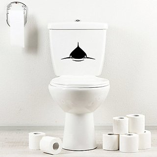 StickAny Bathroom Decal Series Nice Great White Shark Sticker for Toilet Bowl, Bath, Seat (Black)
