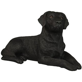 Sandicast Original Size Black Labrador Retriever Sculpture, Lying