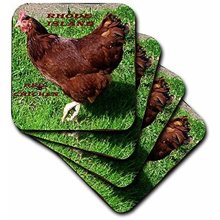 3dRose cst_50942_2 State Bird of Rhode Island Red Chicken Soft Coaster (Set of 8)