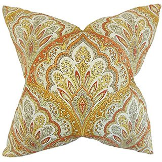The Pillow Collection P20-D-42438-AMBER-C100 Xanthipe Paisley Pillow, Amber, 20