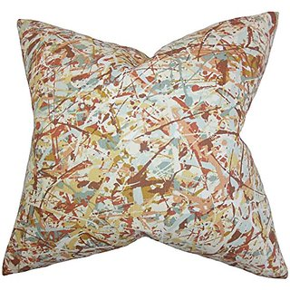 The Pillow Collection Geneen Geometric Pillow, Brown