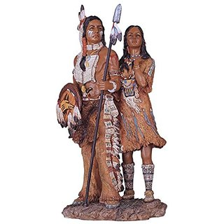 George S. Chen Imports SS-G-11334 Native American Couple Collectible Indian Figurine Sculpture Statue