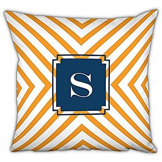 Dabney Lee Chevron Square pillow with Single Initial, R, Multicolored