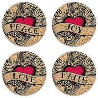 Epic Products Winged Heart Cork Coasters, Set Of 4