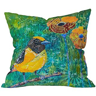 DENY Designs Elizabeth St Hilaire Nelson Finch With Poppies Throw Pillow, 20 x 20