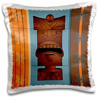 3dRose Wood Grain Tropical Tiki Mask-Hawaiian Flowers Orange Blue and Brown-Pillow Case, 16 by 16